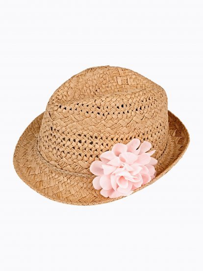 FEDORA HAT WITH FLOWER
