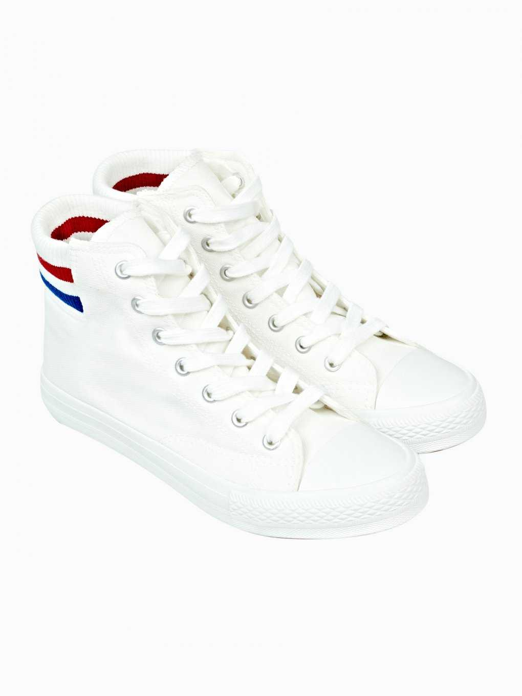 Hi-top sneakers with stripes