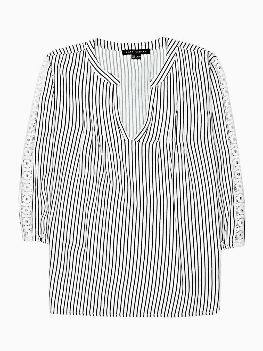 Striped blouse with crochet detail