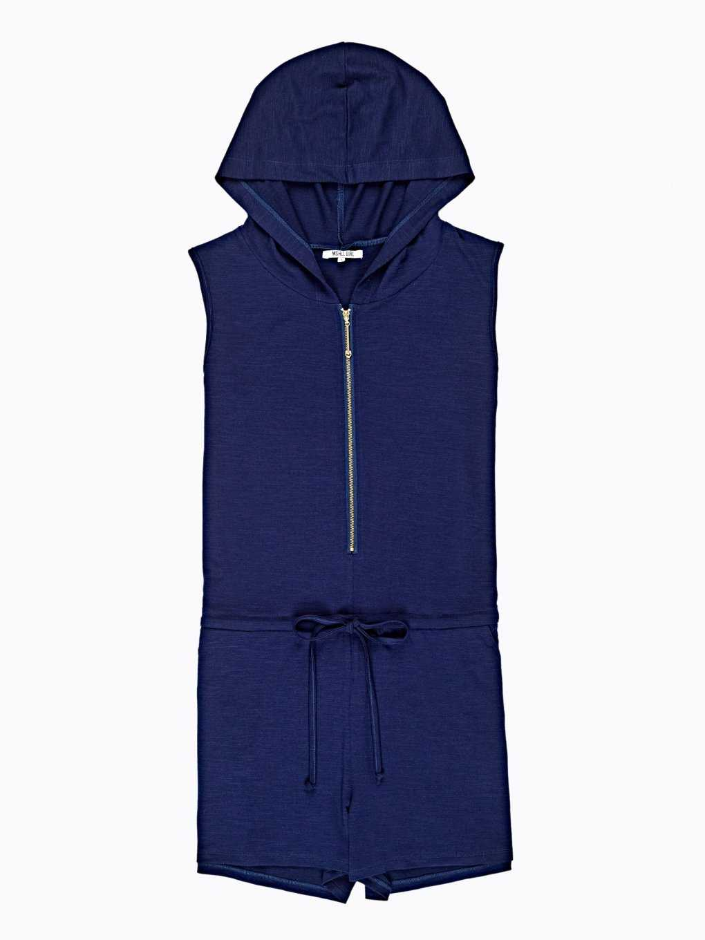 Short jumpsuit with hood