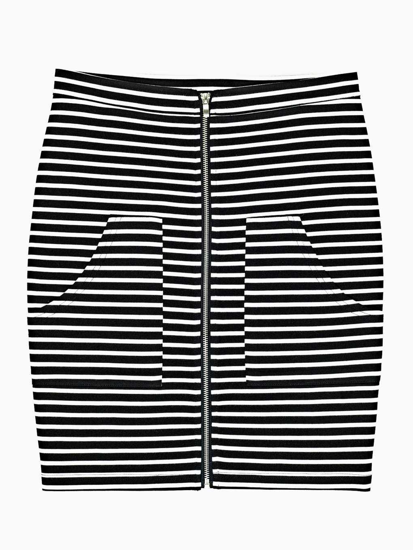 Striped zip-up skirt