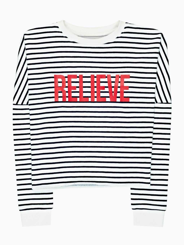 Striped sweatshirt with message print