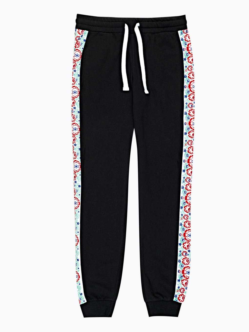 Sweatpants with folk panel