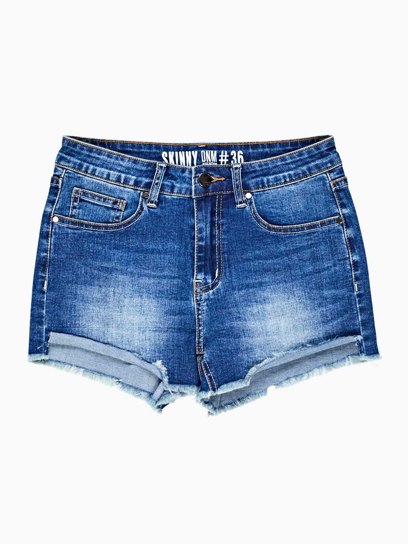 Denim shorts with raw hems