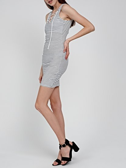 STRIPED DRESS WITH FRONT LACING