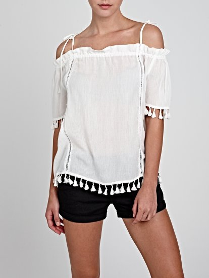OFF-THE-SHOULDER TOP WITH TASSELS