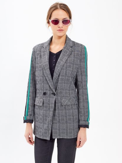 Taped plaid blazer