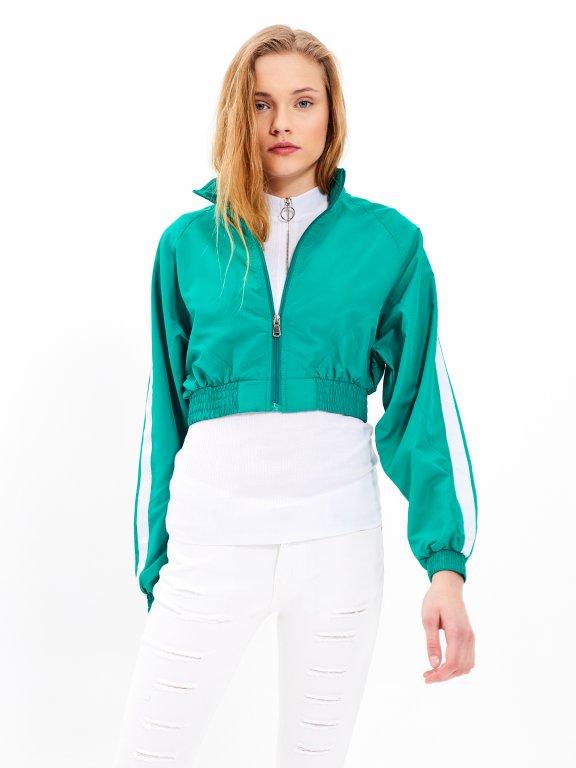 Krátka bunda s bočným prúžkom