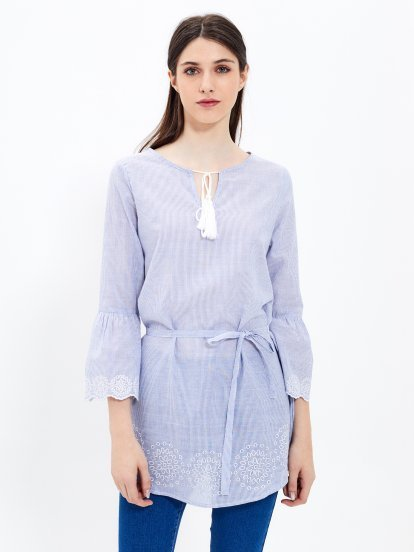 Longline striped blouse with embroidery