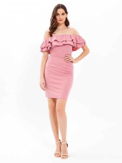 Off-the-shoulder bodycon dress with ruffles