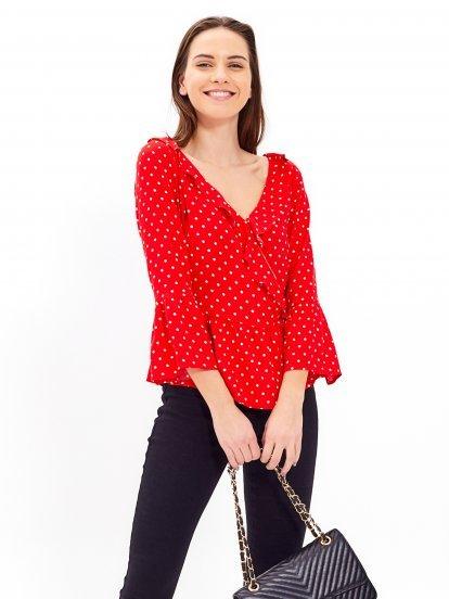 Polka dot print ruffle blouse