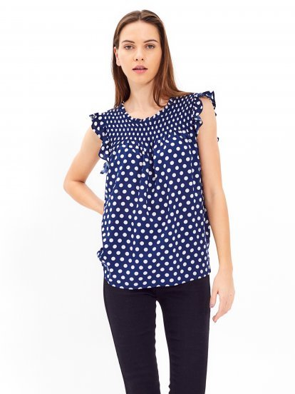 Polka dot print top with ruffles