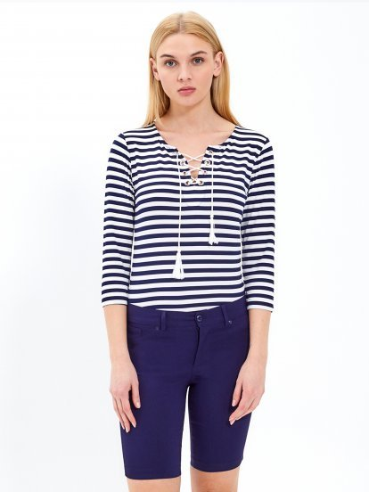 Striped top with front lacing