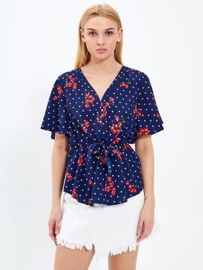 Peplum blouse with print