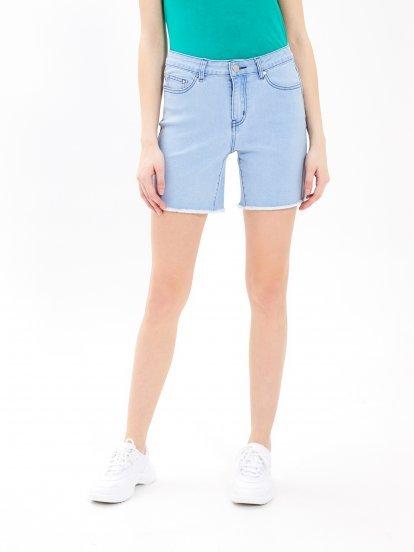Denim shorts with raw edge