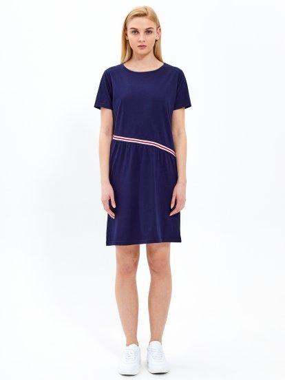 Koszulowa sukienka z prążkiem