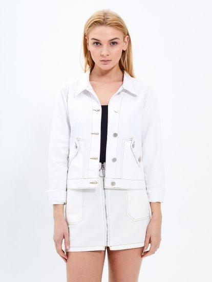 Denim jacket with contrast stitching