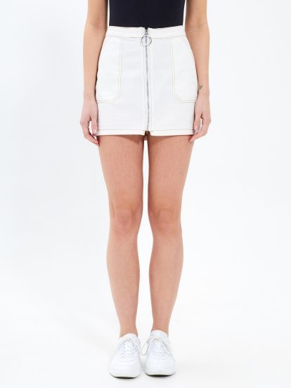 Zip-up mini skirt with contrast stitching