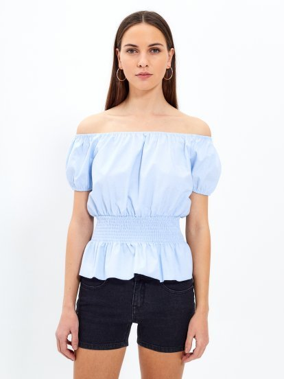Lace-up waist off-the-shoulder blouse