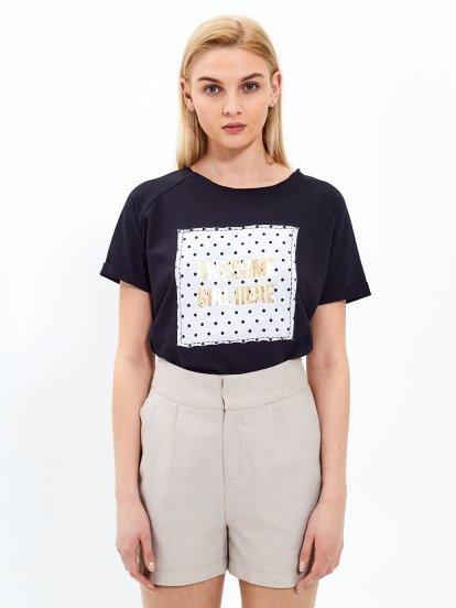 T-shirt with metallic message print