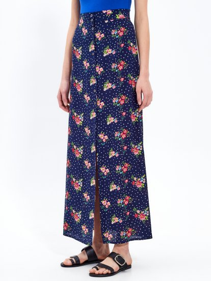 Printed button-up maxi skirt