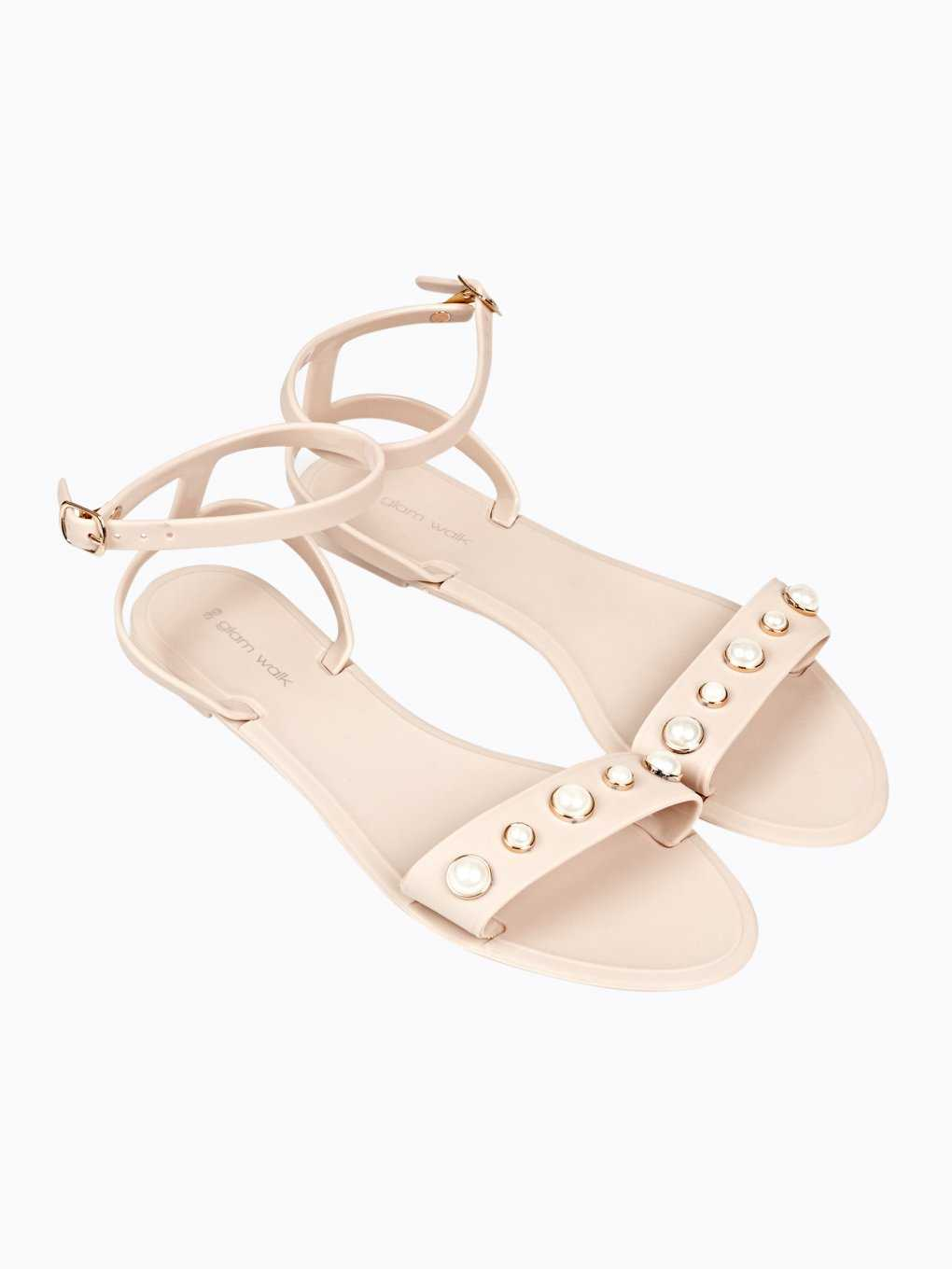 JELLY FLAT SANDALS WITH PEARLS