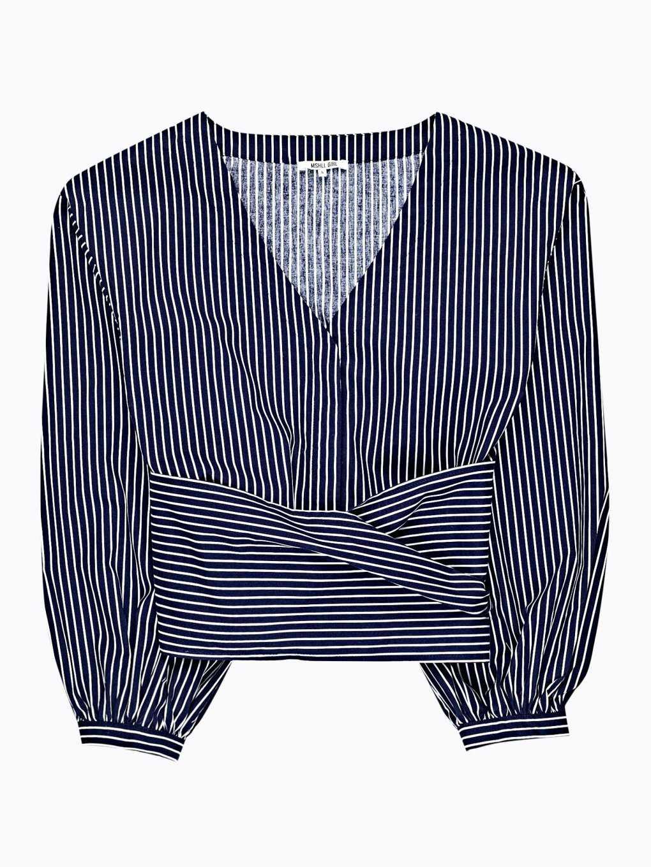 Striped crop wrap blouse