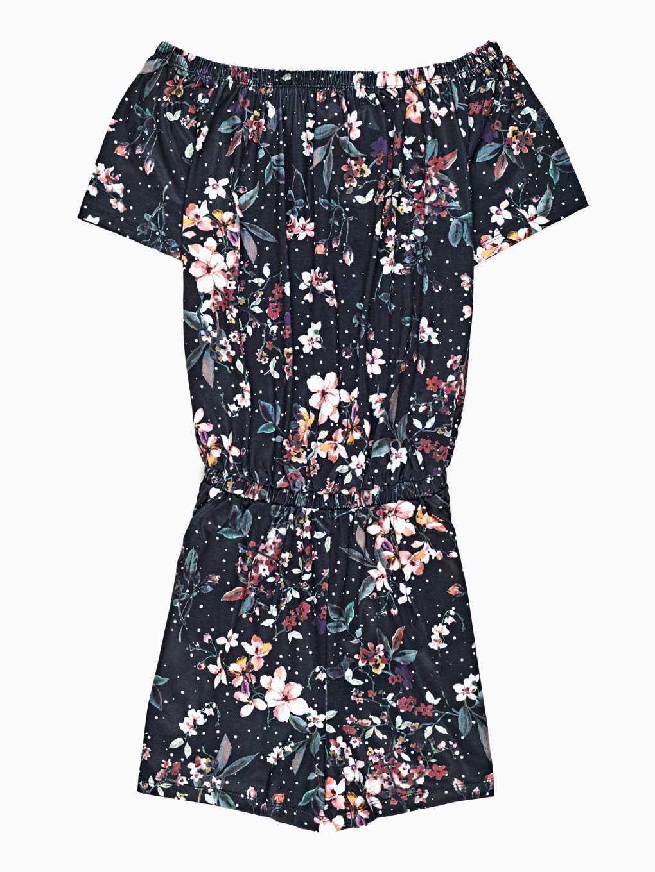 Off-the-shoulder short jumpsuit with floral print