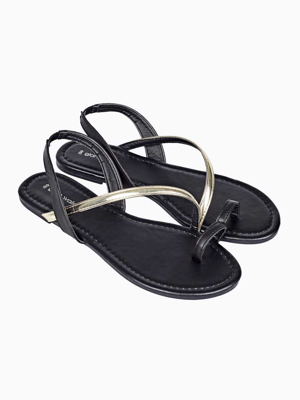 Sandals with metallic strap