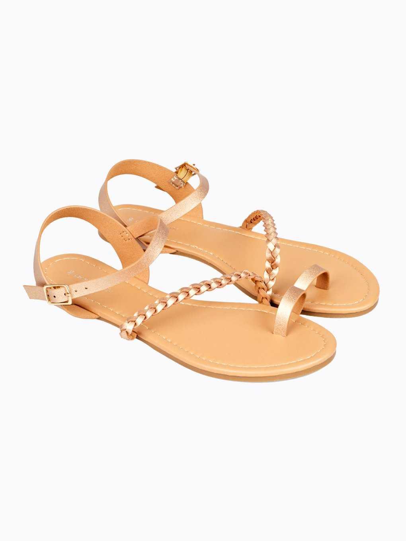 Braided strap flat sandals