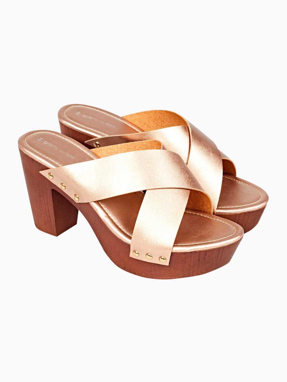 Block heel platform slides