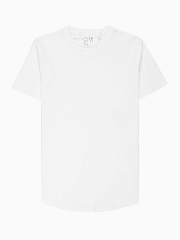 Waffle-knit longline t-shirt