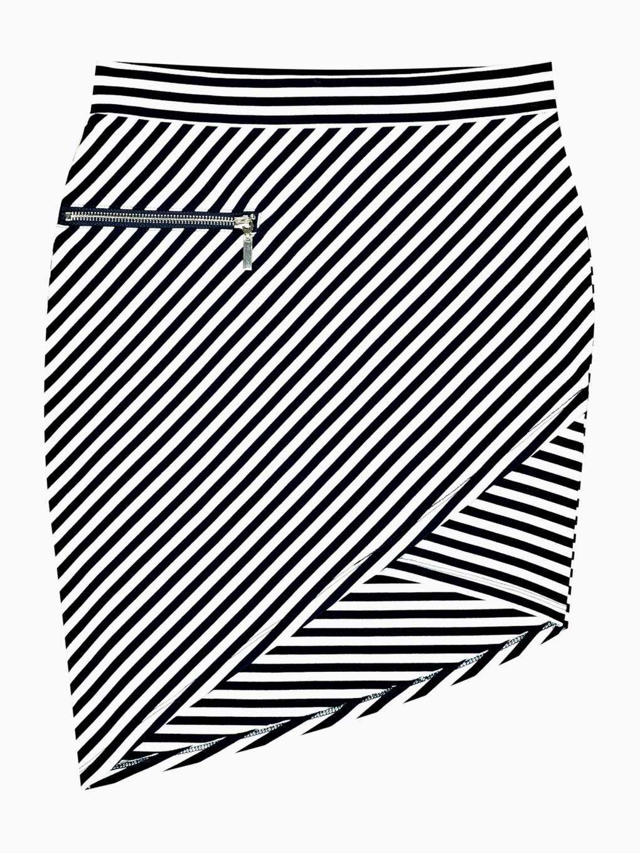 Striped mini skirt with asymmetric hem