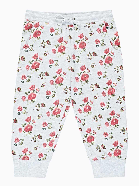 3/4-leg floral print sweatpants