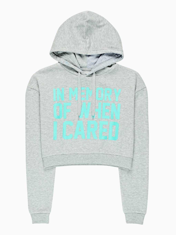 Crop hoodie with message print