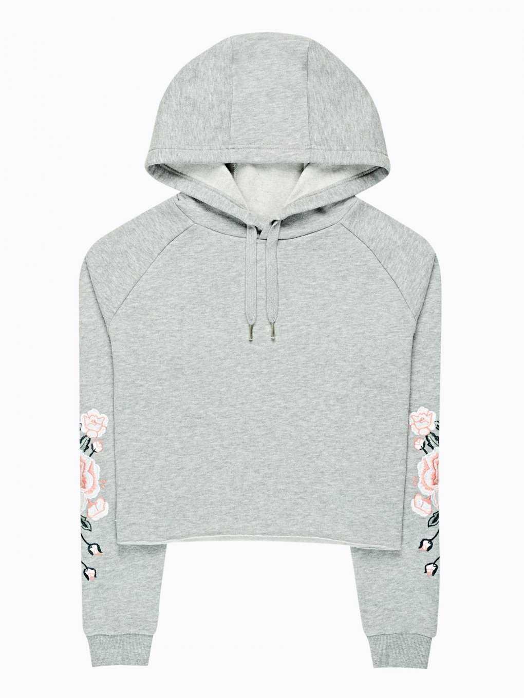 Crop hoodie with floral print