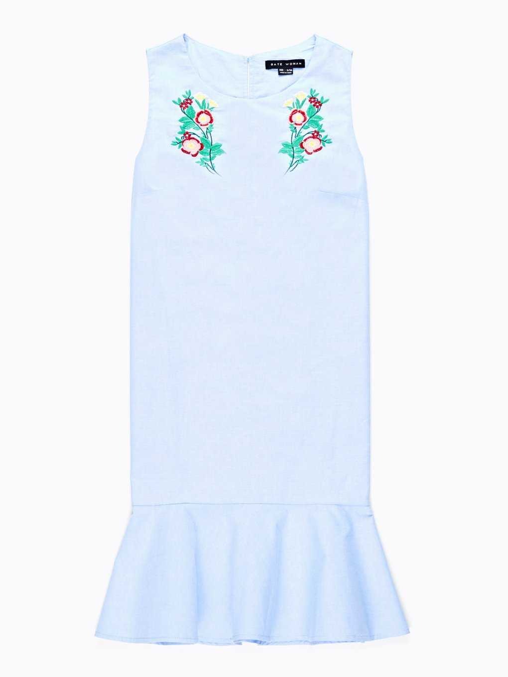 Sleeveless dress with floral embroidery