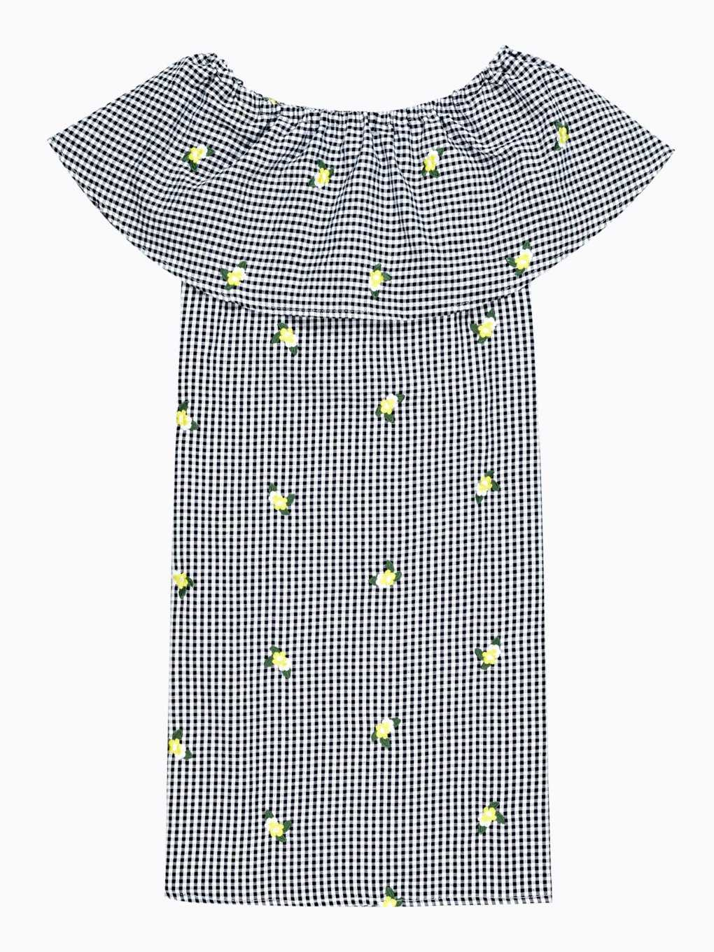 Embroidered gingham dress with ruffle
