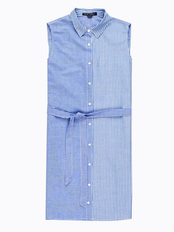 Striped shirt dress with belt