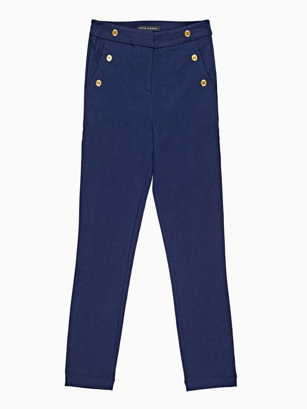 High waisted slim trousers with decorative buttons