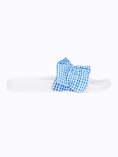 Flat slides with gingham strap