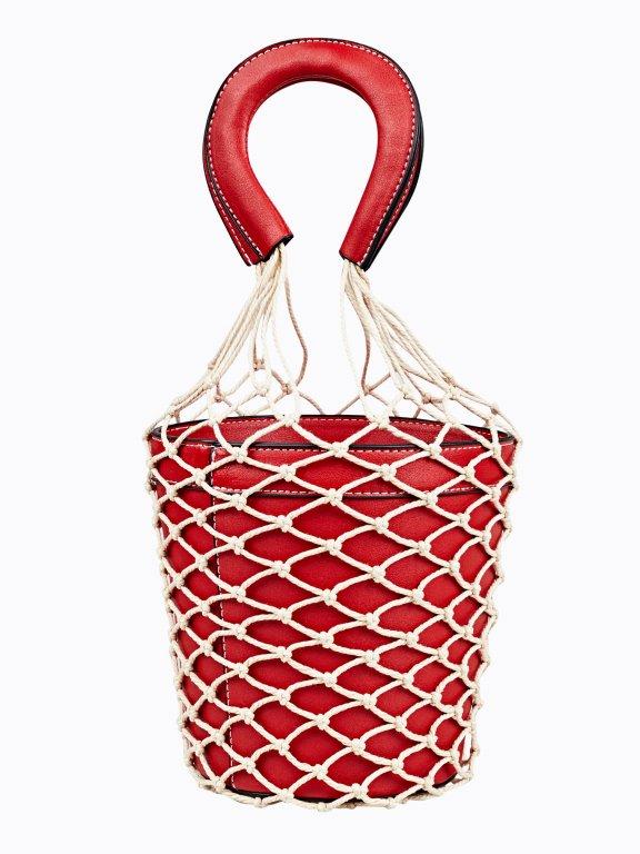 Kabelka bucket s makramé