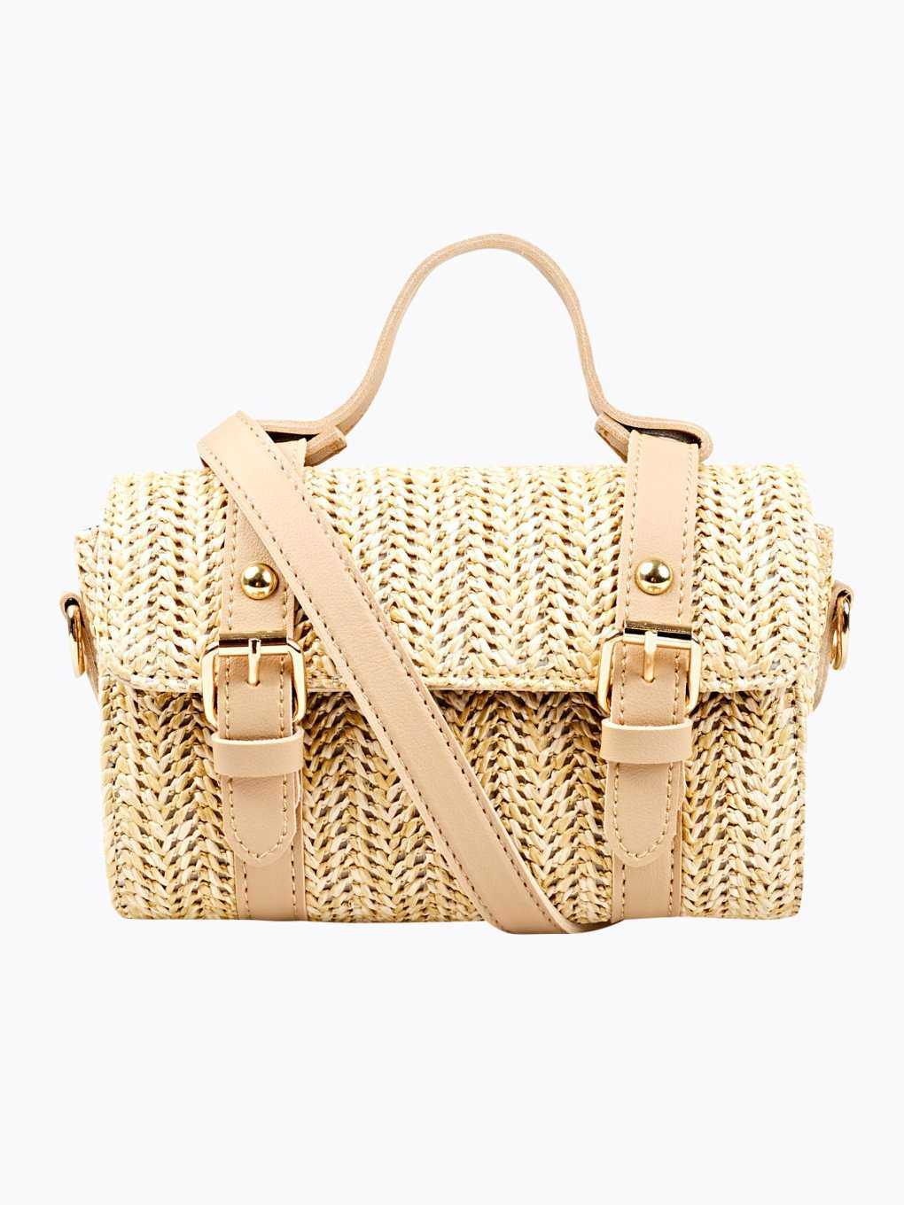 Straw cross body mini bag
