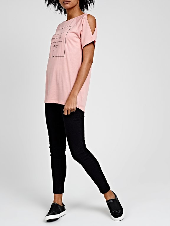 COLD-SHOULDER T-SHIRT WITH PRINT