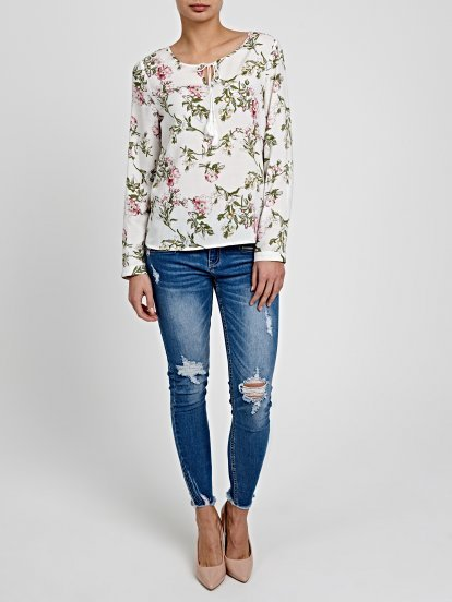 FLORAL PRINT VISCOSE BLOUSE WITH FRONT LACING
