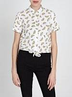 KNOT FRONT SHIRT WITH PRINT