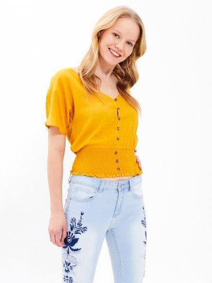 V-neck button down blouse