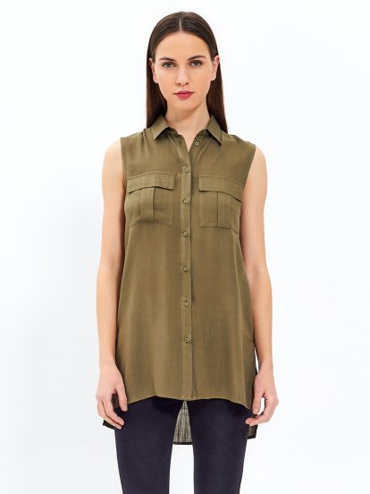 Sleeveless viscose shirt