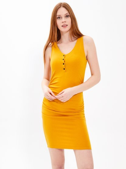 Bodycon dress with buttons