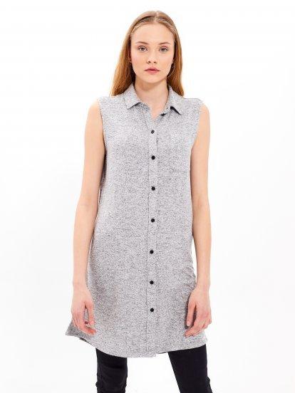 Knitted button down shirt dress